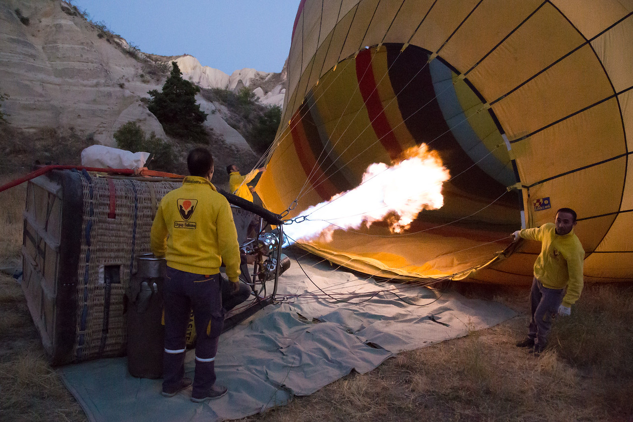 Filling the envelope with hot air before my balloon ride in Cappadocia