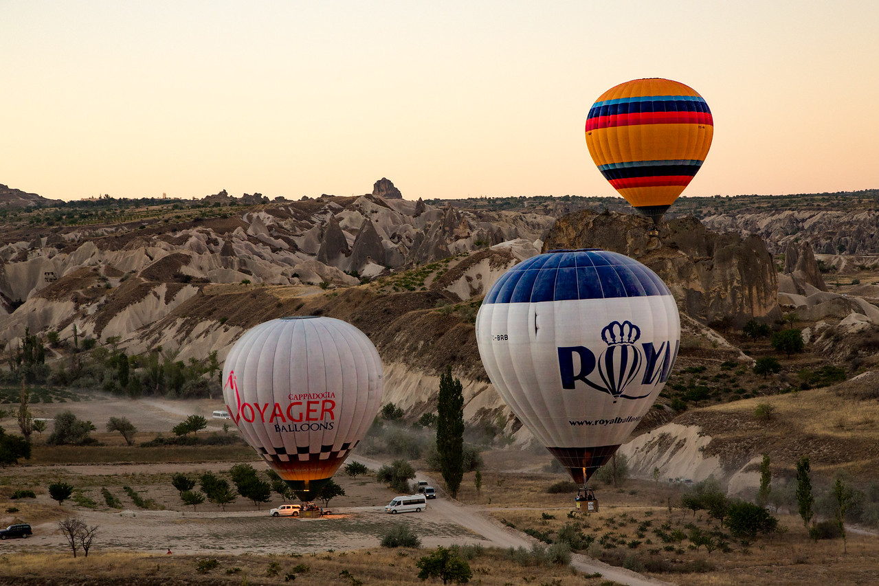 Hot Air Balloons in Turkey Waiting to liftoff from the Anatolian landscape