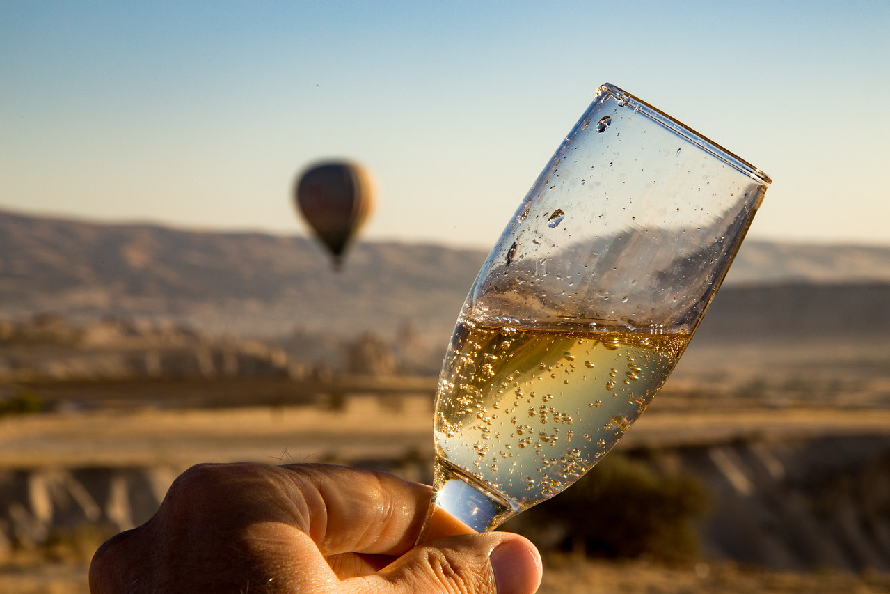 A little post-flight champagne from my hot air balloon flight in Turkey