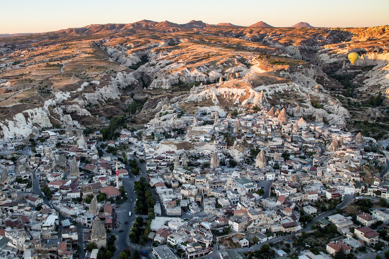 View of ancient Goreme, Turkey from a hot air balloon