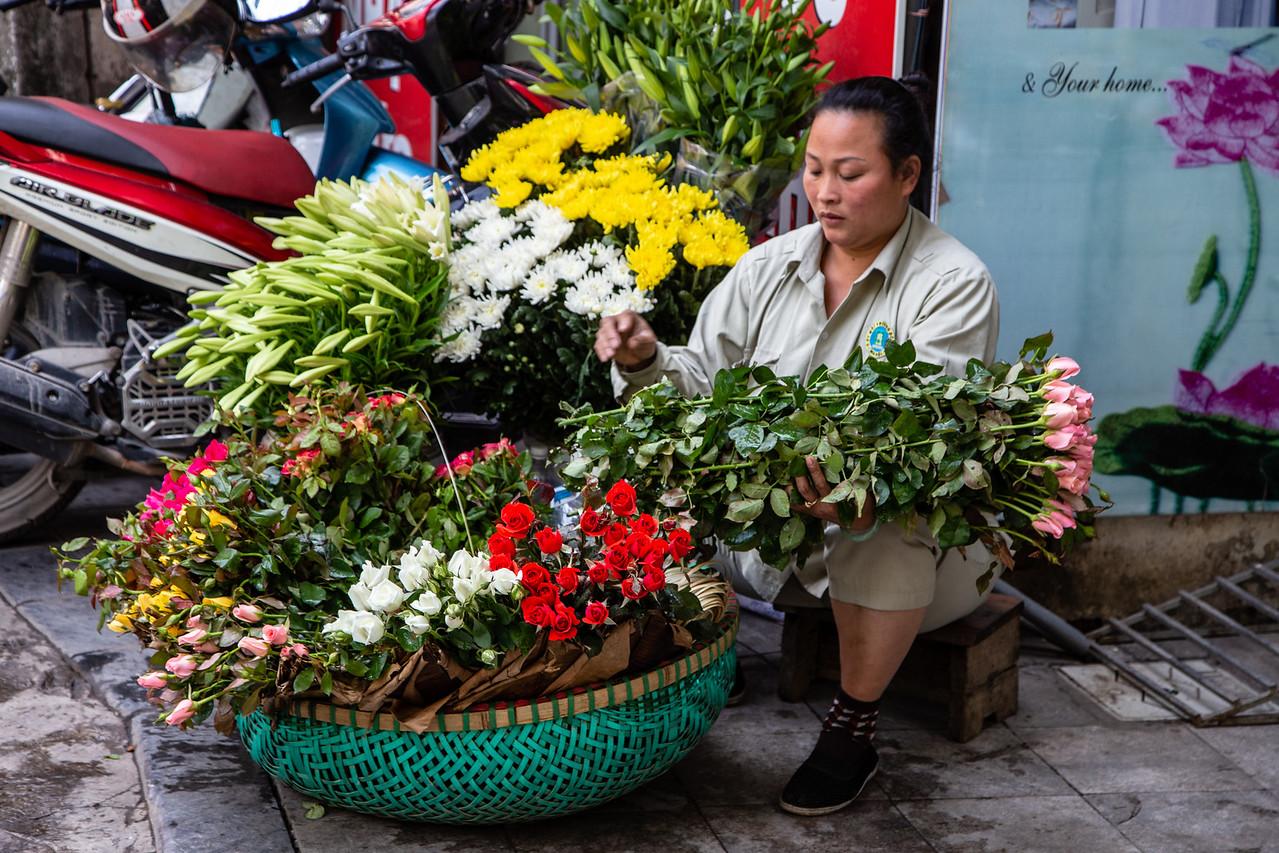 Street Florist in Old Town Hanoi