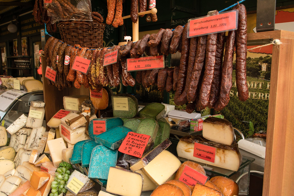 Sausage, cheeses, and Everything Else You Can Imagine is at Naschmarkt