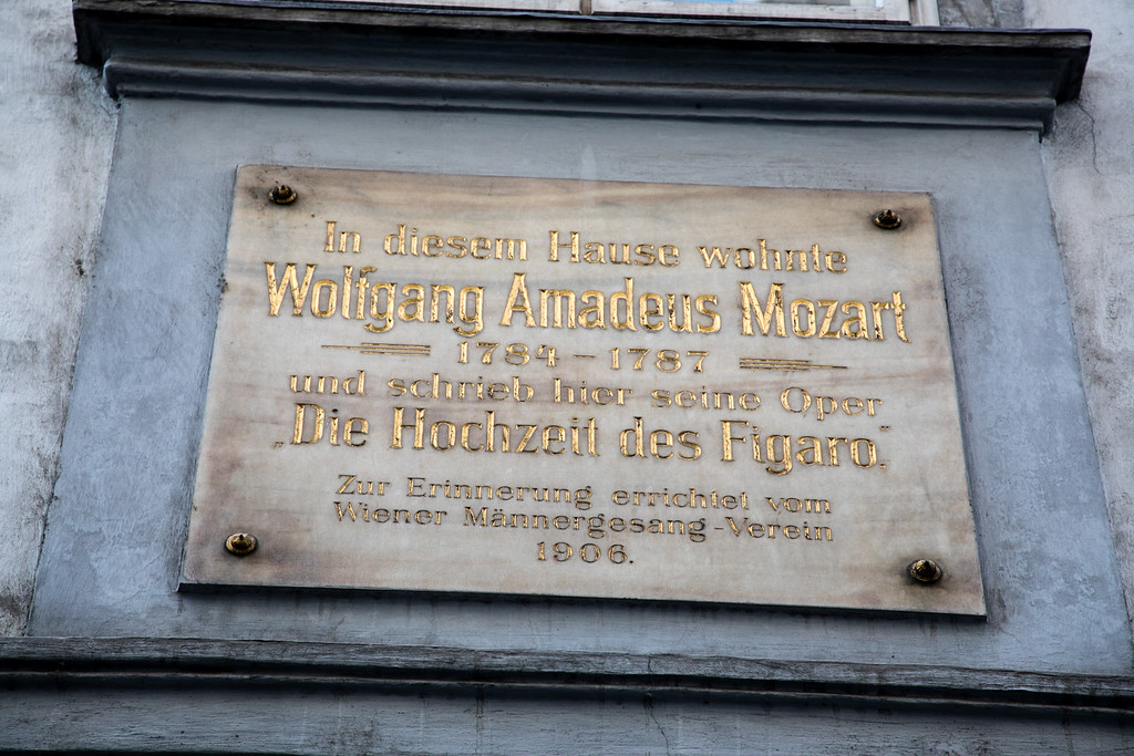 The Plaque Outside of Mozart's Apartment in Vienna