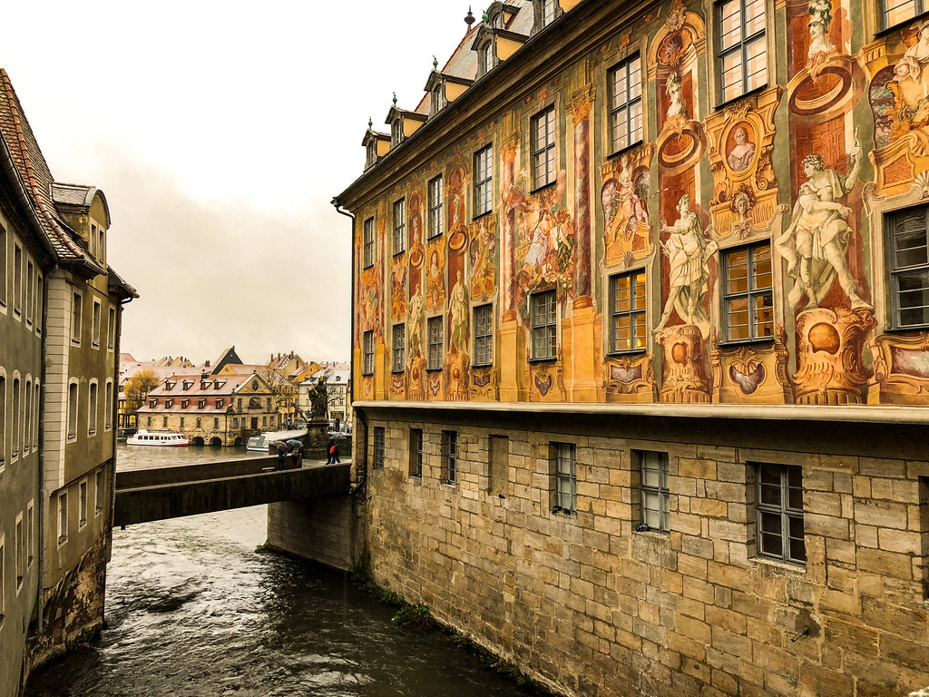 The town hall (Rathaus) in Bamberg is built on an Island