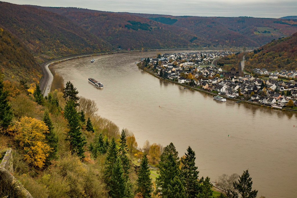 Viking Longship Cruising on the Rhine River in Germany