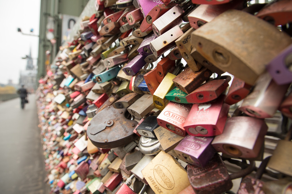 Love Locks Over the Rhine River in Cologne, Germany
