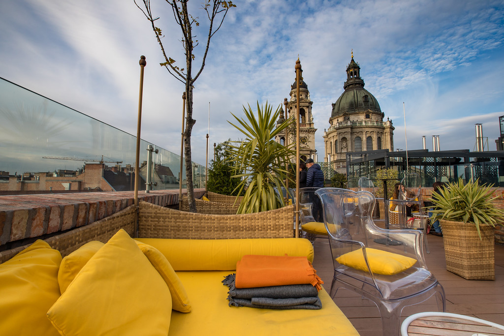 St. Stephen's Basilica from the Aria High Note Sky Bar in Budapest
