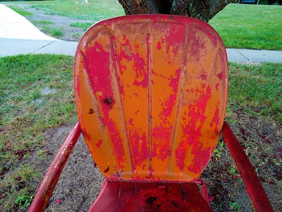 Becky A. Dickman - CMU colors in my old metal chair.