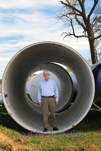 "6' 4"" Dave Marshall stands inside one of the 9 foot pipes that are being laid in the construction of the water pipeline that will extend from east Texas to Benbrook."