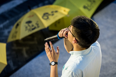 Activist Joshua Wong addresses the crowd at an event commemorating the 4th anniversary of the Umbrella Revolution in Hong Kong on September 28, 2018.