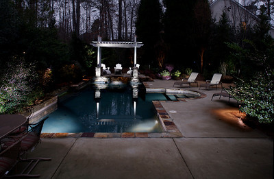1st cut; shrubs on the left and trees at rear need illumination, as does the pool wall at the left rear.  Next time...