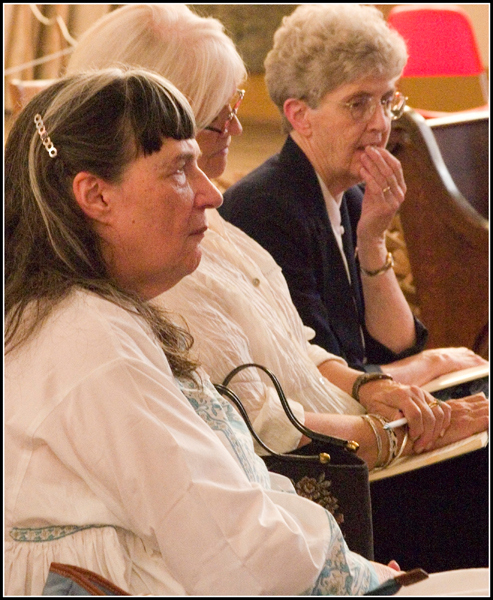 Foreground, invited panelist Miriam Kiss.  The pensive lady in the background is Sister Jean Conaty, who was<br /> Edward Moran's high school English teacher.