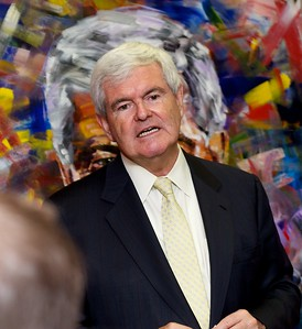 Event shot, strobe lighting (U.S. presidential candidate Newt Gingrich)