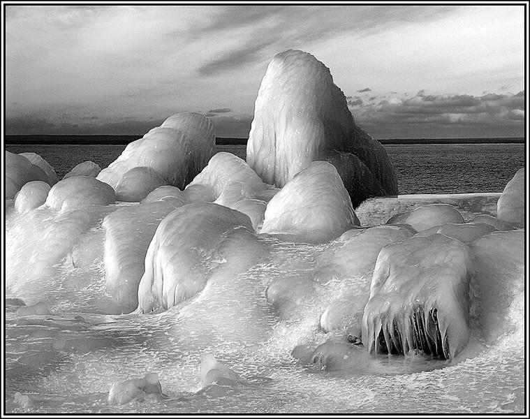 Joe Rakoczy - Ice Mounds, Lake Superior BW