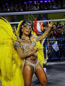 Juliana Alves, queen of drummers of Tijuca samba school performs at the Sambadrome during the samba school parade,  Rio de Janeiro, Brazil, February 10, 2013. The Unidos da Tijuca Samba school parade pays tribute to Germany during Rio de Janeiro's 2013 carnival celebrations. (Austral Foto/Renzo Gostoli)