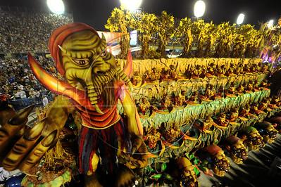 A float of Tijuca Samba School parades at the Sambadrome, Rio de Janeiro, Brazil, February 10, 2013. The Unidos da Tijuca Samba school parade pays tribute to Germany during Rio de Janeiro's 2013 carnival celebrations. (Austral Foto/Renzo Gostoli)