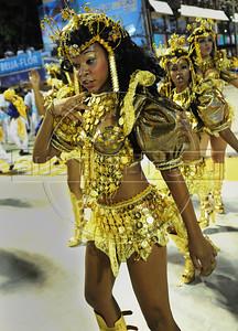 Kids perform at the Sambadrome during a samba school parade,  Rio de Janeiro, Brazil, February 11, 2013. (Austral Foto/Renzo Gostoli)