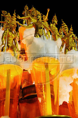Members of Unidos da Tijuca samba school perform, representing beer, at the Sambadrome during the samba school parade, Rio de Janeiro, Brazil, February 10, 2013. The Unidos da Tijuca Samba school parade pays tribute to Germany during Rio de Janeiro's 2013 carnival celebrations. (Austral Foto/Renzo Gostoli)