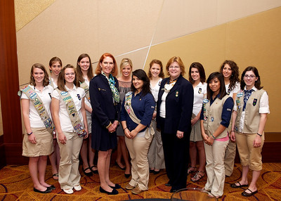 Gold Award candidates with Ann Hooper, Chairman of the Board of Directors, and Marilyn Midyette, CEO of the Girl Scouts of Greater Atlanta