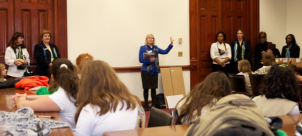 Representative Dobbs addresses the girls and responds to their questions about being a memebr of our state govenrnment