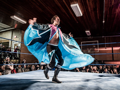 Wrestler Magnum CK makes a bold entrance at Greektown Wrestling in Toronto. March 18, 2018.
