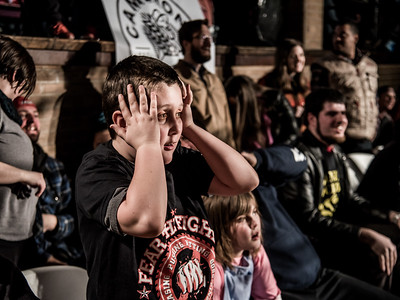 A young fan reacts to the action at Greektown Wrestling in Toronto. March 18, 2018.