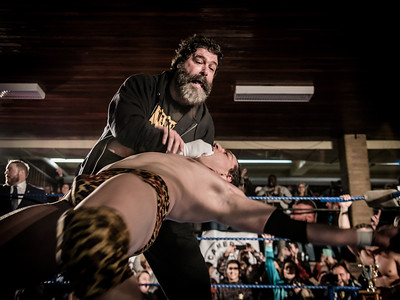 WWE Hall of Famer Mick Foley performs his famous finishing move on Canadian wrestler RJ City at Greektown Wrestling in Toronto. March 18, 2018.