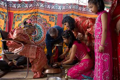 Budho Junko ritual of 90 year old Newar lady. Dhaubahal, Patan, Nepal.