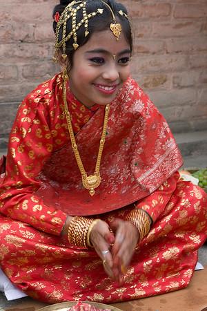 Gupha Ceremony of Dipita Phaiju,11. Bhaktapyur, Nepal.