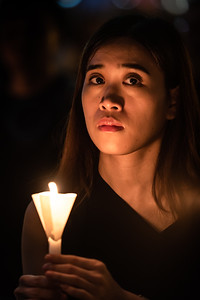 Hong Kong residents attend a candle light vigil on June 4, 2019 in honour of the 30th anniversary of the Tiananmen Massacre. Victoria Park, Hong Kong.
