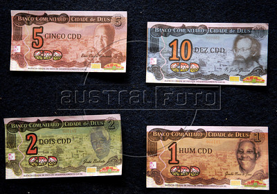 Photo of bills, social currency Cidade de Deus, issued by the Community Bank of Cidade de Deus, Rio de Janeiro, Brazil, September 15, 2011.  The Brazilian favela City of God, received today the first branch of Community Bank, as a new experience to stimulate the activity economic in poor communities. (Austral Foto/Renzo Gostoli)