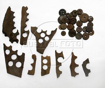 CAIS DA IMPERATRIZ- Material usado para fabricar botoes e botoes achados nas excavacoes do Cais Da Imperatriz e do Valongo, Rio de Janeiro, Brasil, Marco 25, 2011.  (Austral Foto/Renzo Gostoli)