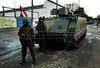 FAVELA DO CAJU - Veiculos blindados da Marinha Brasileira participam da ocupaçao do complexo de favelas do Caju, Rio de Janeiro, Brasil, Março 3, 2013.   (Austral Foto/Renzo Gostoli)