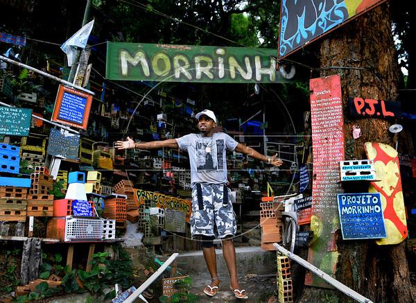 PROJETO MORRINHO -   Cilan Oliveira, 28, junto as maquetas do Projeto Morrinho, na comunidade 'Pereirao',  Rio de Janeiro, Brasil, Abril 10, 2012.  (Austral Foto/Renzo Gostoli)