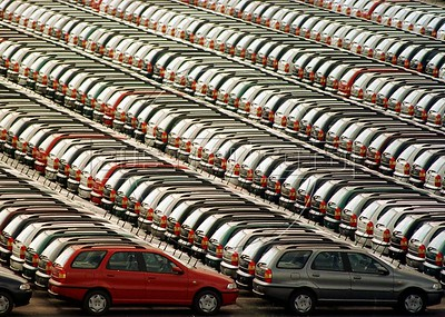 Thousands of Fiat cars await export on the docks of the Port of Rio de Janeiro. Fiat is one of many European companies to invest heavily in South America, in particular Brazil and Argentina.(Douglas Engle/Australfoto)