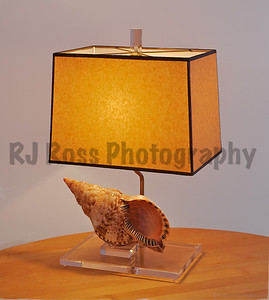 Triton shell lamp with rectangular base & shade