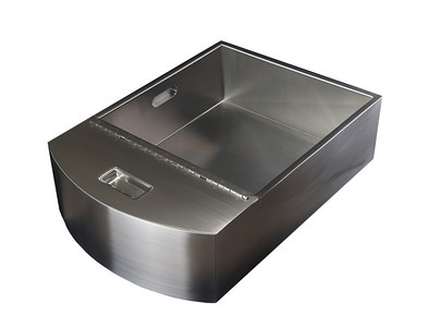Custom stainless steel cold beverage bin, with removable divider