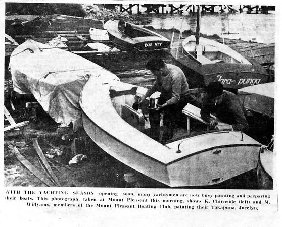 Kelvin Chirnside and Murray Willyams painting Jocelyn, Kelvin's boat, before the start of the season.
