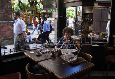 Giulia Gostoli, 95, drink a coffe  in London City cafe in Florida and Avenida de Mayo corner, Buenos Aires downtown, Buenos Aires, Argentina, March 26, 2010. (Austral Foto/Renzo Gostoli)