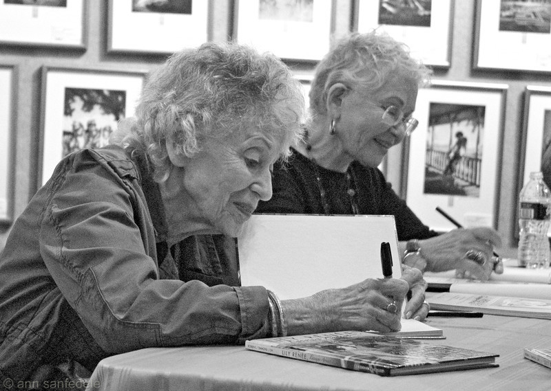 Lily Renee and Trina Robbins sign Trina's book about LIly at Books of Wonder in NYC - November, 2011