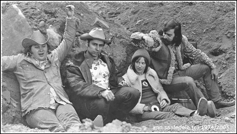 "back to the 70's - This is Olduvai Gorge - the group... an ""outtake"" from the shoot for the poster they hung in the window of Broadway Charly's.  Left to right Dominic Duval, Bob (Bobby Z) Zaidman,  Carolyn( CH)  Dutton, Dan Denerstein."