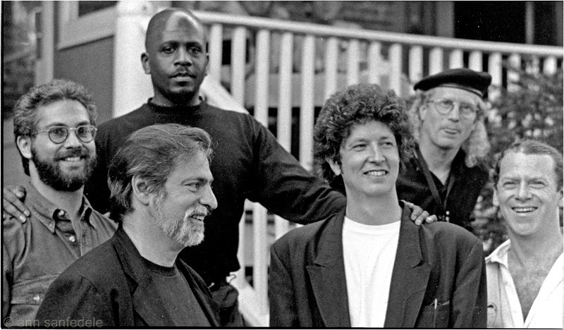 1996 - the music group Slim's Revenge - Back then they were known as Automatic Slim.  Left to right, the 4 guys kinda in the front row, are Erik Lawrence (tenor sax), Dan Denerstein (keyboard and vocals), Courtney Sappington (guitar),David Snider (bass).  Behind them are Garry Bruer (drums) and Jody Espina (alto sax).  Photographed before a performance in Nyack on a summer afternoon.