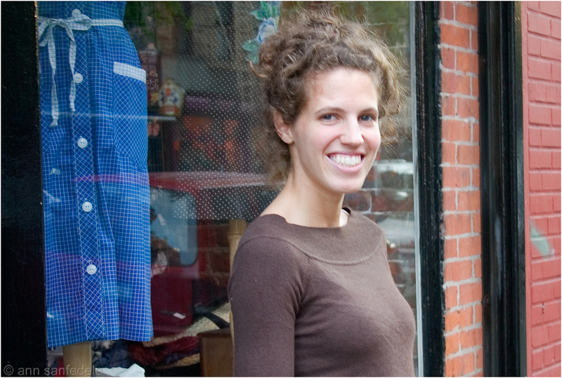Dress designer  Kate Goldwater outside her east village store  guess what Au H20 means :-)