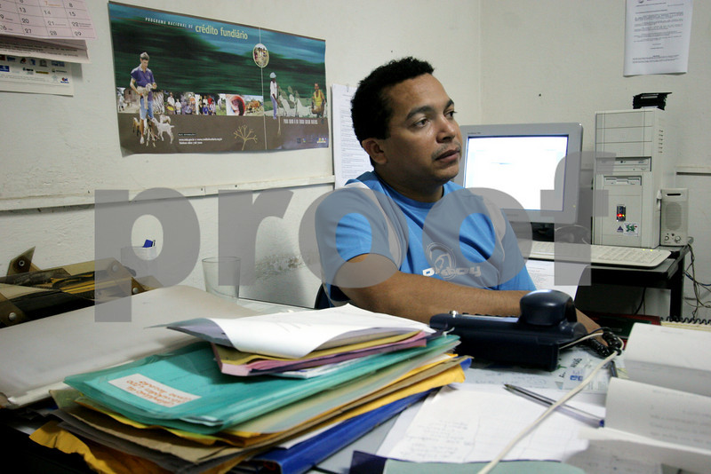 Francinaldo sits in the office of the Association of Land Reform Settlements of Maranhao State (ASSEMA) in the town of Pedreiras. ASSEMA is an umbrella NGO of associations operated for and by rural peasants and babau nut crackers. Founded in the late 1980s as a result of land conflicts in the region, It's main goal is to improve living conditions in the countryside by promoting local and family oriented agricultural production, while using and preserving the babassu palm trees.The babassu palm, native to this northeastern corner of Brazil, is an important part of the local culture and economy - more than 60 products come from it including oil used for cooking and cosmetics as well as the nutshell which is used as cooking fuel. British NGO Action Aid has helped support ASSEMA since 1999 - in particular the Escola Familia Agricula Antonio Fontenele (EFA). (AustralFoto/Douglas Engle)
