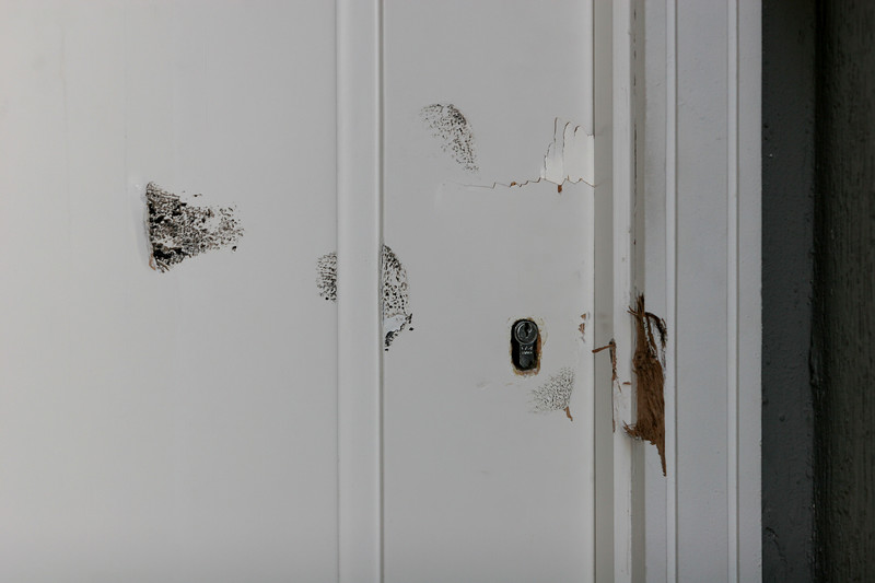Marks of a forced entry left by Brazilian Federal Police on the front door of the home of Colombian drug lord Juan Carlos Ramirez Abadia in Aldeia da Serra,near Sao Paulo, Brazil. Abadia, known as Chupeta or Lollypop, suspected of ordering hundreds of murders in Colombia and the US, was detained by the Brazilian Federal Police as part of a major drugs investigation. The US state department describes him as one of the most powerful and elusive Colombian drug traffickers.(Australfoto/Douglas Engle)