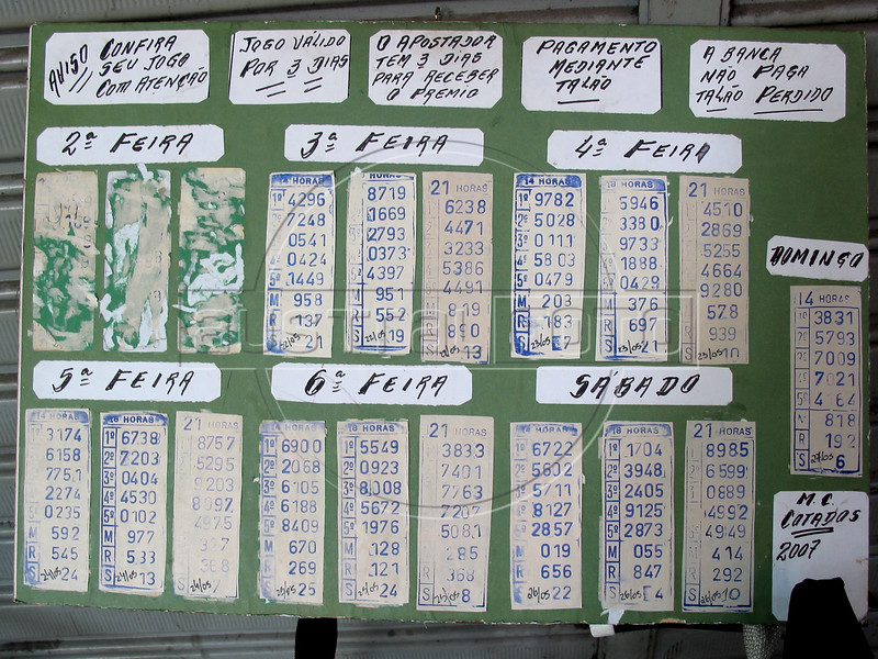 """Results of the """"Animal Game"""" in Rio de Janeiro, May 28, 2007. The Animal Game (Jogo do Bicho) is an illegal lottery game played all over Brazil, but mostly in Rio de Janeiro. Started by a businessman to promote a zoo in the 1800s, customers can bet any amount on numbers which correspond to 25 animals. There are three daily drawings, and winners can collect their earnings at the spot they made the bet, which is usually a person sitting at a corner or local bar with a desk and notepad. Despite its widespread popularity, it is still illegal and those involved may be prosecuted. (Australfoto/Douglas Engle)"""