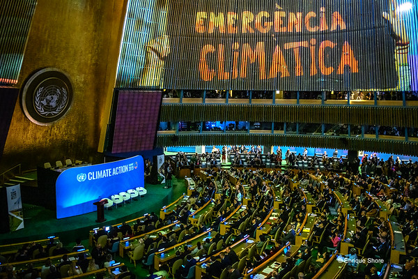 A giant audiovisual presentation at the UN Climate Action Summit, New York, USA