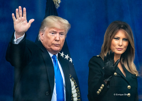 US President Donald Trump and wife Melania Trump at Veterans Day Parade, New York, USA