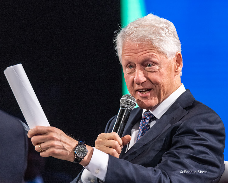 New York, USA, 26 September 2018.  Former US President Bill Clinton speaks at the Bloomberg Global Business Forum in the sidelines of the 73rd United Nations General Assembly in New York city.  Photo by Enrique Shore