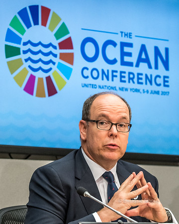 Monaco's Prince Albert II addresses a press conference in the United Nations